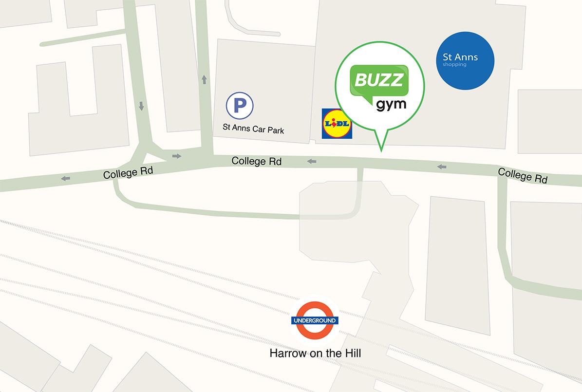 buzz gym london harrow map