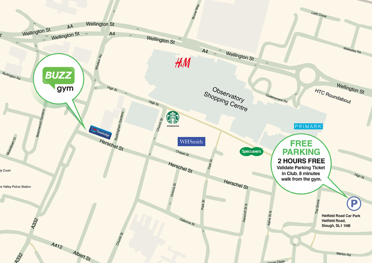 Buzz Gym Slough Map